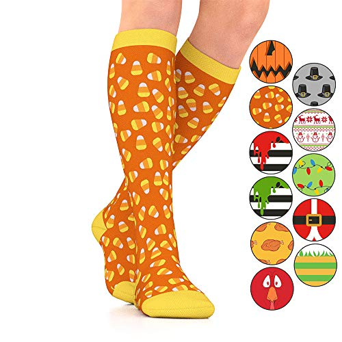 Go2Socks GO2 Holiday Compression Socks for Women Men Nurses Runners 15-20 mmHg (Medium) - Medical Stocking Maternity Travel-Best Performance Recovery Circulation Stamina (CandyCorn,Large)