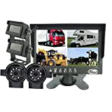 "7""QUAD/SPLIT REAR VIEW REVERSING BACKUP 4-CAMERA CCTV SYSTEM FOR AG TRACTOR RV"