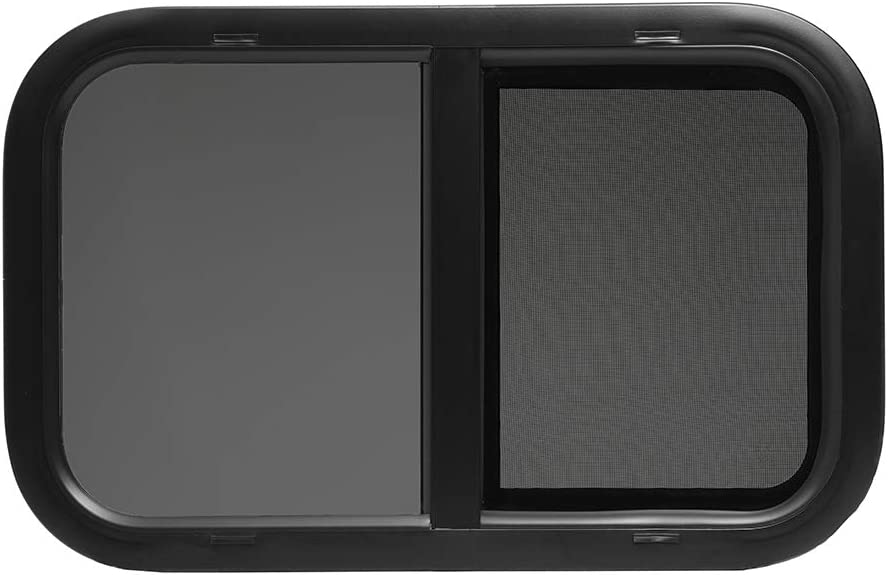 "ToughGrade Horizontal Sliding Black RV Window 24"" X 20"" X 1 1/2"" Includes Mounting Ring"