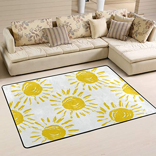 Keyboard Sun 6' (CENHOME Custom Area Rugs Yellow Sun Pattern Sunshine Floor Mat Indoor/Outdoor Non Slip Rugs Home Large Entryway Carpet Doormat)