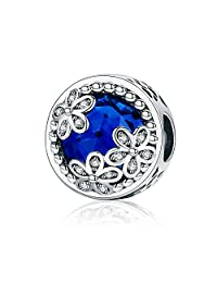 Everbling Daisy Flower Blue CZ 925 Sterling Silver Bead Fits Pandora Charm Bracelet
