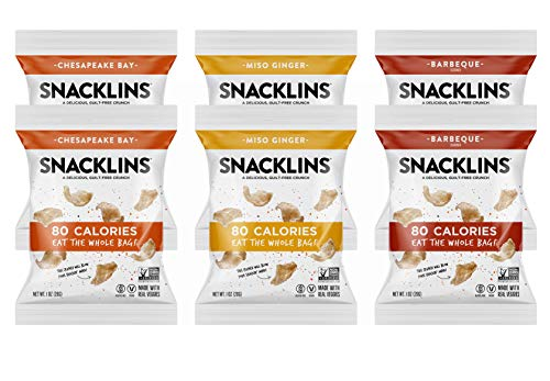 SNACKLINS Puffed Chips, Healthy, Crunchy, Gluten-Free, and Vegan, Variety Pack, Pack of 6