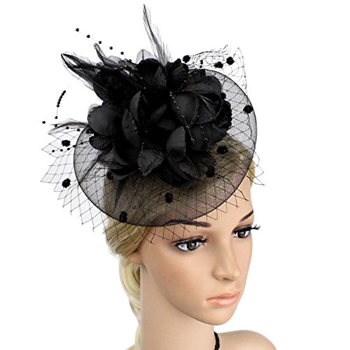 BAOBAO Wedding Party Flower Feather Bead Mesh Veils Fascinator Hat Hair Clip Headpiece