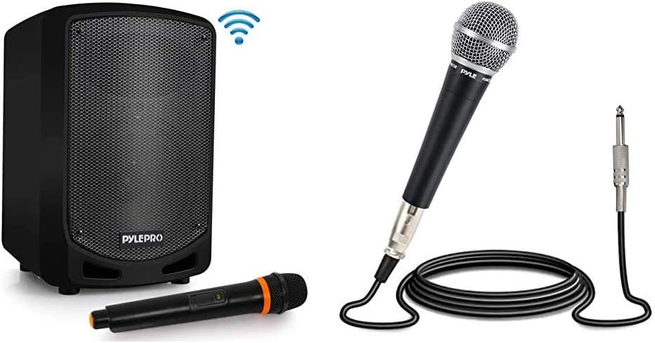 Pyle Bluetooth Karaoke PA Speaker & Professional Moving Coil Dynamic Cardioid Unidirectional Vocal Handheld Microphone Includes 15ft XLR Cable to 1/4'' Audio Connection