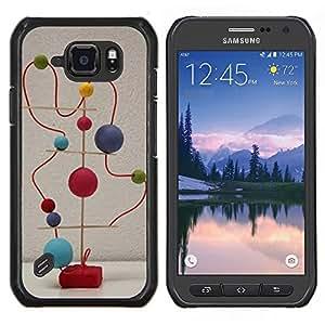 LECELL--Funda protectora / Cubierta / Piel For Samsung Galaxy S6Active Active G890A -- Estructura abstracta Arte Blanco Moderno Estatua --