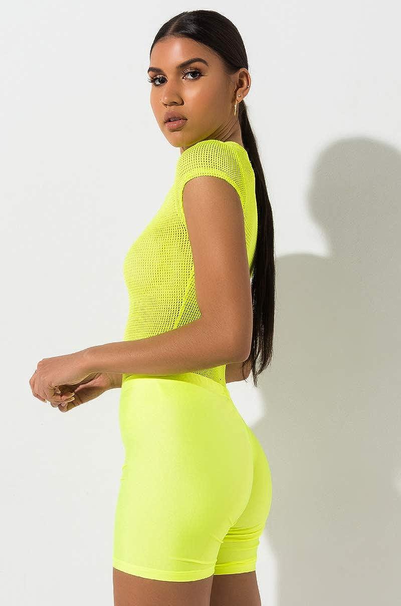 AKIRA Womens Neon Blacklight High Rise Short Biker Bike Shorts