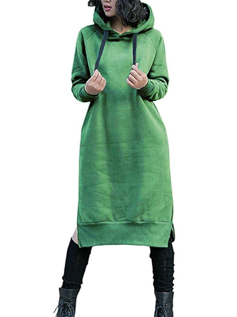Nutexrol Damen Winter Hoodie Kapuzenpullover Lang Kapuzenjacke Sweatjacke Übergröße Kleider Sweatshirt Warm Outwear mit Fleece-Innenseite B0742DHMSJ Kapuzenpullover Vollständige Spezifikationen