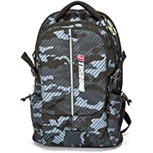 Backpack for Men 25 Lite Top Selling Gifts Outdoor Hiking Camping Trekking Fits up to 15.6 inch Laptop Classic Military Sport Pack Camoflag Grey Bag Daypack with Compass by 9THSOUND