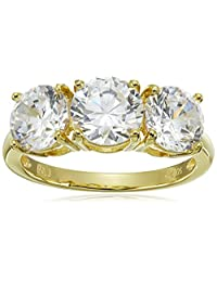 Sterling Silver Round Cut Three-Stone Cubic Zirconia Ring (3.25 cttw)