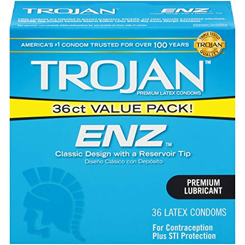 Trojan ENZ Lubricated Condoms, 36ct (Best Type Of Condom For Protection)