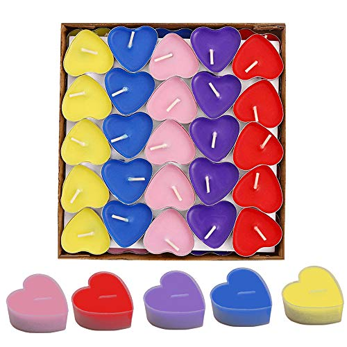 Simuer 50 Pack Heart Shaped Unscented Tea Lights Candles Smokeless Candles -