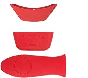 DCS 3 Pack Silicone Hot Handle Holder, Hot Mitts, Assist Holder Non Slip Heat Protecting Handle Cover for Cast Iron Skillets, Frying Pans & Griddles, Metal and Aluminum Cookware Handles (Red)