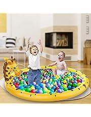 AOLUXLM Sprinkler mat, kinderbadje voor kinderen, baby, zwembad, waterspeelgoed, tuin, outdoor, splash pad, waterspeelmat, 174 x 130 x 70 cm