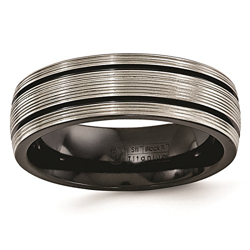 Titanium Black Ti Grooves & Textured Lines Polished 7mm Wedding Ring Band Size 8.5 by Edward Mirell by Venture Edward Mirell Titanium Bands (Image #1)