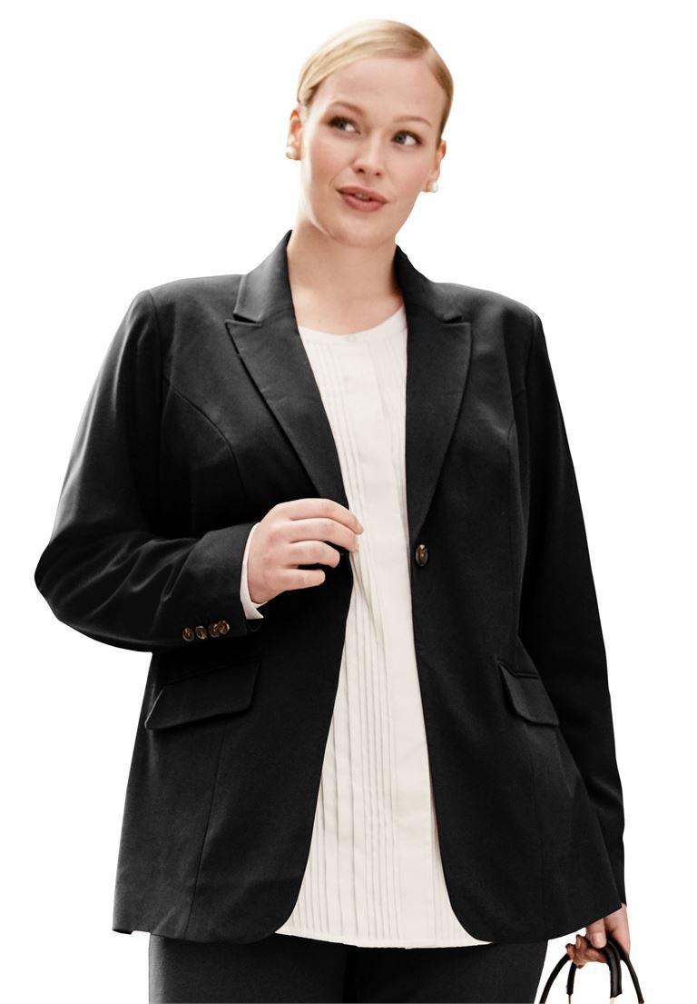 Jessica London Women's Plus Size One-Button Bi-Stretch Blazer Black,18