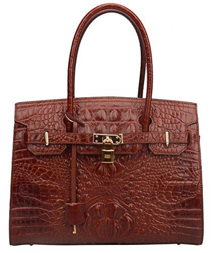 Crocodile Embossed Leather Handbag (Ainifeel Women's Crocodile Embossed Leather Handbags and Purses On Clearance (Brown A))