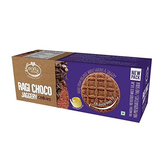 Early Foods Organic Ragi Choco Jaggery Cookies - Kids Snack 150gms