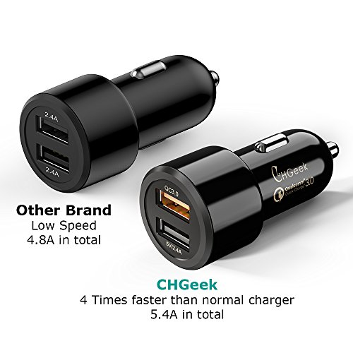 Upgraded VersionCar Charger CHGeek 30W 54A 12V 24V combined USB automotive Charger AdapterQuick payment 30 24A using good IC for iPhone X 8 Plus 8 Galaxy S9 S8 S8 Plus LG Motorola many other Android devices and Tablet automotive Chargers
