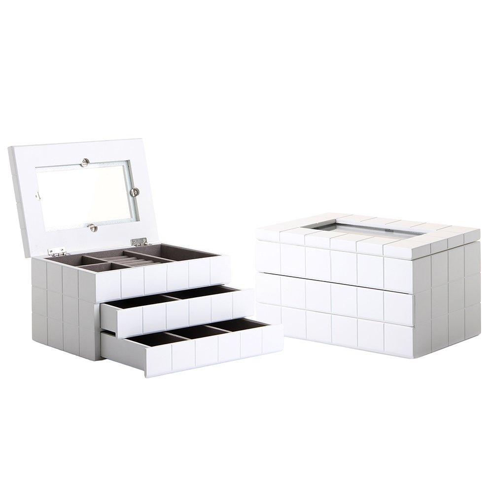 Lola Derek - Caja con joyero moderna blanca de madera para dormitorio Fantasy
