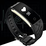 Fitness Tracker Heart Rate Monitor Activity Health Tracker Waterproof Smart Wristband Band with Pedometer Sleep Monitor Step Calorie Counter Bluetooth Bracelet for Swimming Bicycling (Black)