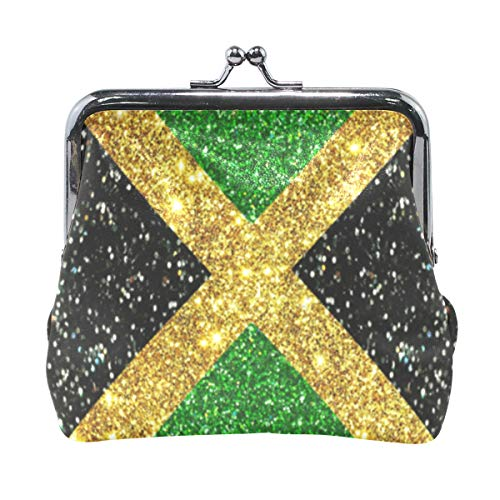 Glitter Jamaica Flag Proud Coin Purse Buckle Vintage PU Pouch Kiss-lock Wallet for Women Girl