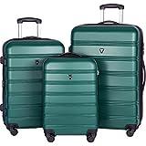 Merax Travelhouse Luggage 3 Piece Expandable Spinner Set (Green)