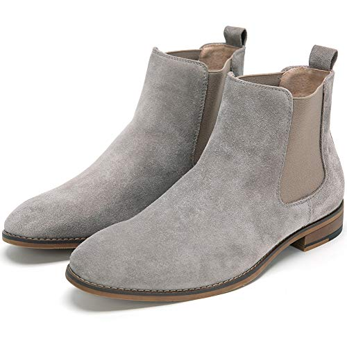 Cestfini Chelsea Slip-on Sude Boots for Men Genuine Leather Waterproof Casual Oxford Dress Ankle Bootie