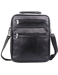 Jack&Chris®Mens Leather Crossbody Single-Shoulder Briefcase Messenger Handbag,MBYX020