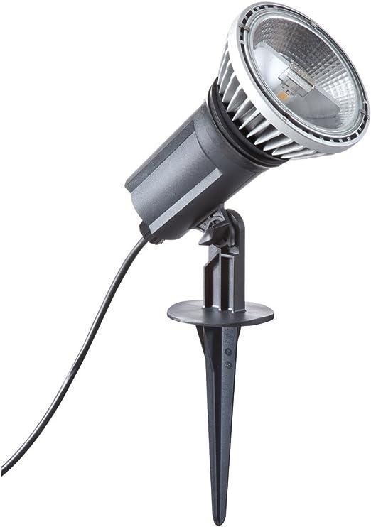 RZB - Foco led para jardín (IP 44, E27, 950 lm, 2800 K, 35 x 12 cm, cálida luz blanca), color negro 721691003: Amazon.es: Iluminación