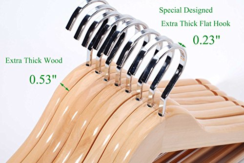 TOPIA HANGER Extra Strong Wooden Suit Hangers, Deluxe Wood Coat Hangers, Glossy Finish with Extra Thick Chrome Hooks & Anti-Slip Bar 16-Pack CT01N by TOPIA HANGER (Image #3)