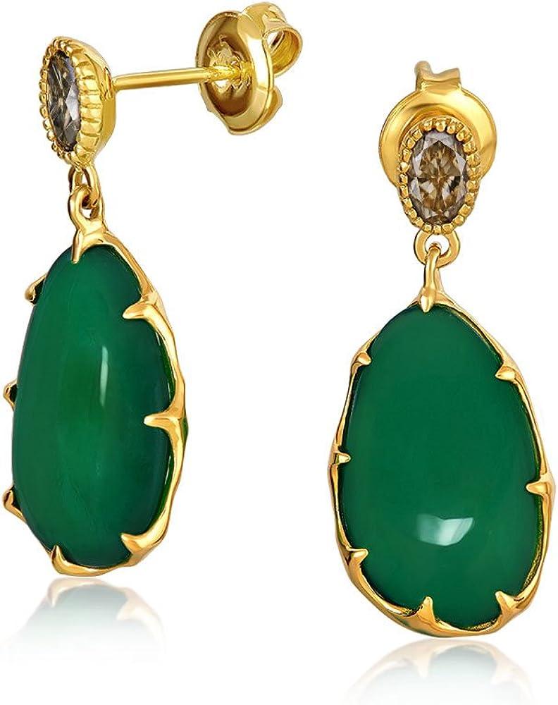 Teñido De Verde Bosque Onyx Facetada De Cuarzo Colgante Pendiente Caída Para Mujer Chapado En Oro De 14K 925