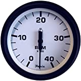 Faria Euro White 4'' Tachometer - 4,000 RPM (Diesel - Mechanical Takeoff & Var Ratio Alt)
