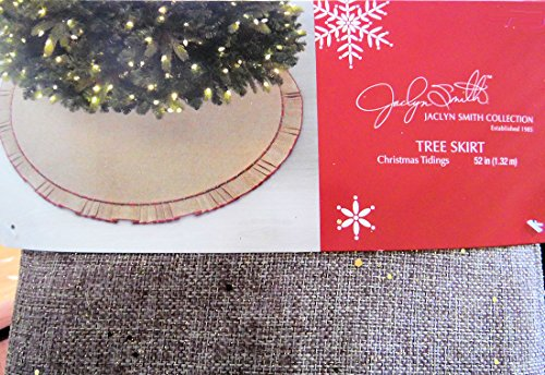 Jaclyn Smith Collection Thick Elegant Rustic Burlap & Gold Sparkle Fabric with Ruffle Trim Christmas Holiday Tree Skirt 52 Inch