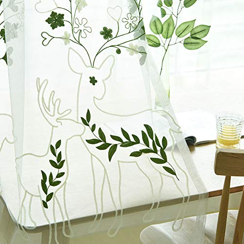 AliFish Sheer Curtains Draperies Kids Room Lace Embroidered Cartoon Sheep Leaf Window Treatment Voile Rod Pocket Country Style Tulle Living Room 84 inches Long 1 Panel W39 x L84 inch