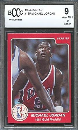1984 85 Star 195 MICHAEL JORDAN Chicago Bulls Rookie Card BGS BCCG 9 Graded
