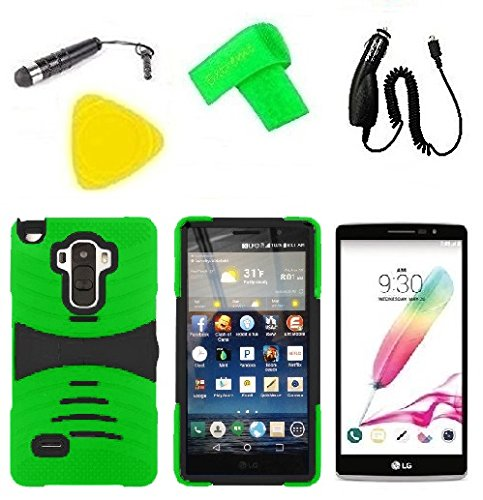 Hybrid Cover Case Cell Phone Accessory + Car Charger + Screen Protector + Extreme Band + Stylus Pen + Pry Tool For LG G Stylo LS770 / LG G4 Stylus H631 / LG G Stylo MS631 (S-Hybrid Green Black) -  ExtremeCases