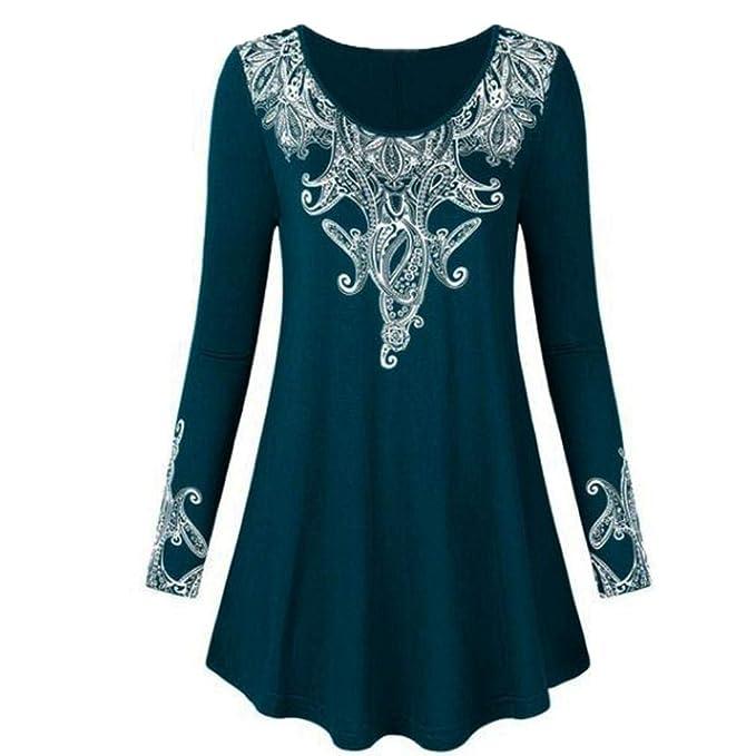 2018 Otoño Separación Mujeres Forman del o-Cuello Casual Manga Larga Florales Impresas Camisa de más tamaño Remata Floja Blusa Tops Camisa Shirt: Amazon.es: ...