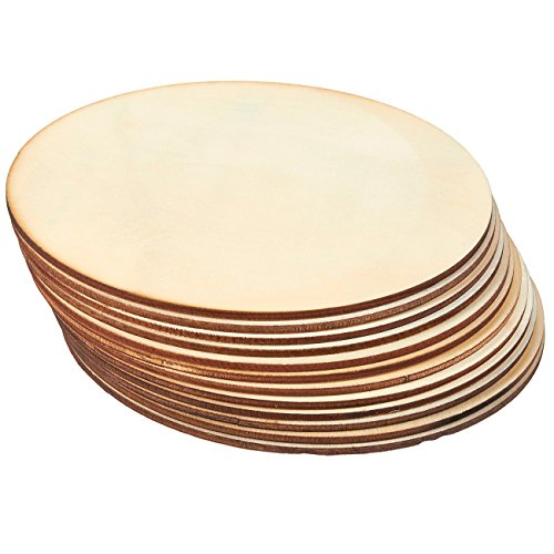 Unfinished Wood Circle - 12-Pack Round Natural Rustic Wooden Cutout for Home Decoration, DIY Craft Supplies, 6-inch Diameter, 0.1 inch Thick -