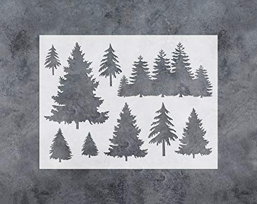 (GSS Designs Tree Decor Stencil - Large Tree Stencil (12x16 Inch) for Painting & Craft - Window Wall Furniture Fabric Wood Stencils -Reusable Template(SL-031))