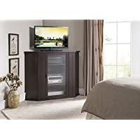Kings Brand Walnut Finish Wood Corner TV Stand Storage Console