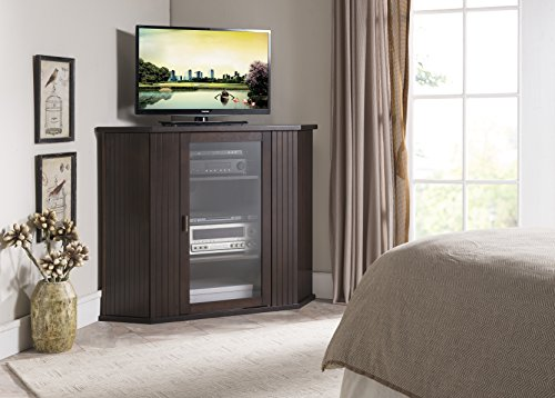 Kings Brand Walnut Finish Wood Corner TV Stand Storage Console (Tv Unit Wood Corner)
