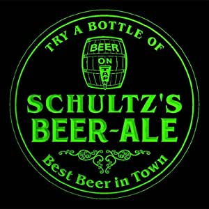 4x ccpn1315-g SCHULTZ'S Best Beer & Ale in Town Bar Pub 3D engraved Coasters