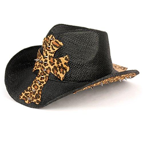 [Angela & William Leopard Print Cowboy Hat With Cross (BLACK)] (Leopard Cowboy Hat)