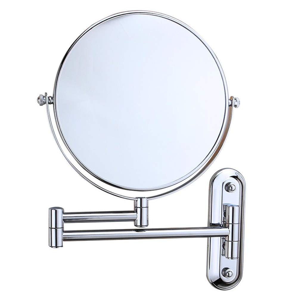DHOUTDOORS Miroir de Salle de Bains 10X Grossissement Normal Double Face 8 Pouce Rond Mural Maquillage Miroir Pivotant Extensible Chrome Fini