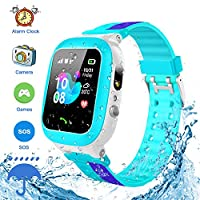 Kids Smartwatch Waterproof GPS/LBS Tracker Phone Compatible iOS Android for Children 3-12 Girls Boys SOS Call Remote Camera Two Way Call Touch Screen Games Christmas Birthday