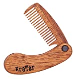 Wooden Beard Comb for Men: Folding, Antistatic, Pocket Size | Natural Merbau, Perfect for Use With Balms and Oils | Brush for Grooming & Combing Hair, Beards and Mustaches (Light Brown)