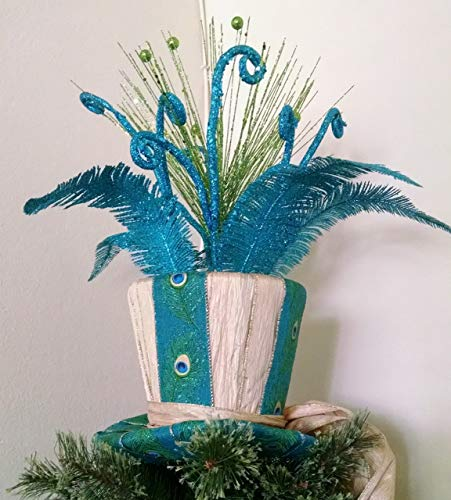 Top Hat Tree Topper - Christmas Tree Topper - Peacock Tree Topper - Top Hat Centerpiece - Christmas Decoration -