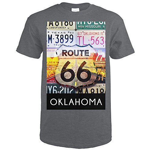 Collectable License Plate (Oklahoma - Route 66 License Plates (Dark Grey Heather T-Shirt Medium))