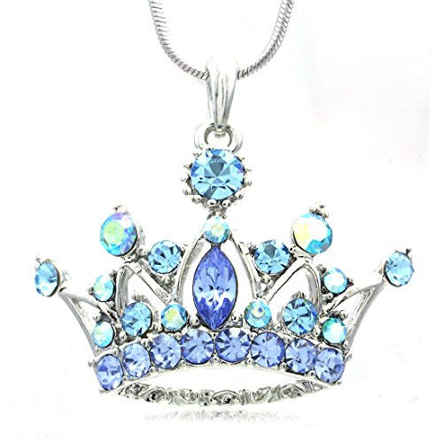 Soulbreezecollection Light Blue Princess Crown Tiara Pendant Necklace Rhinestones Designer Fashion Jewelry