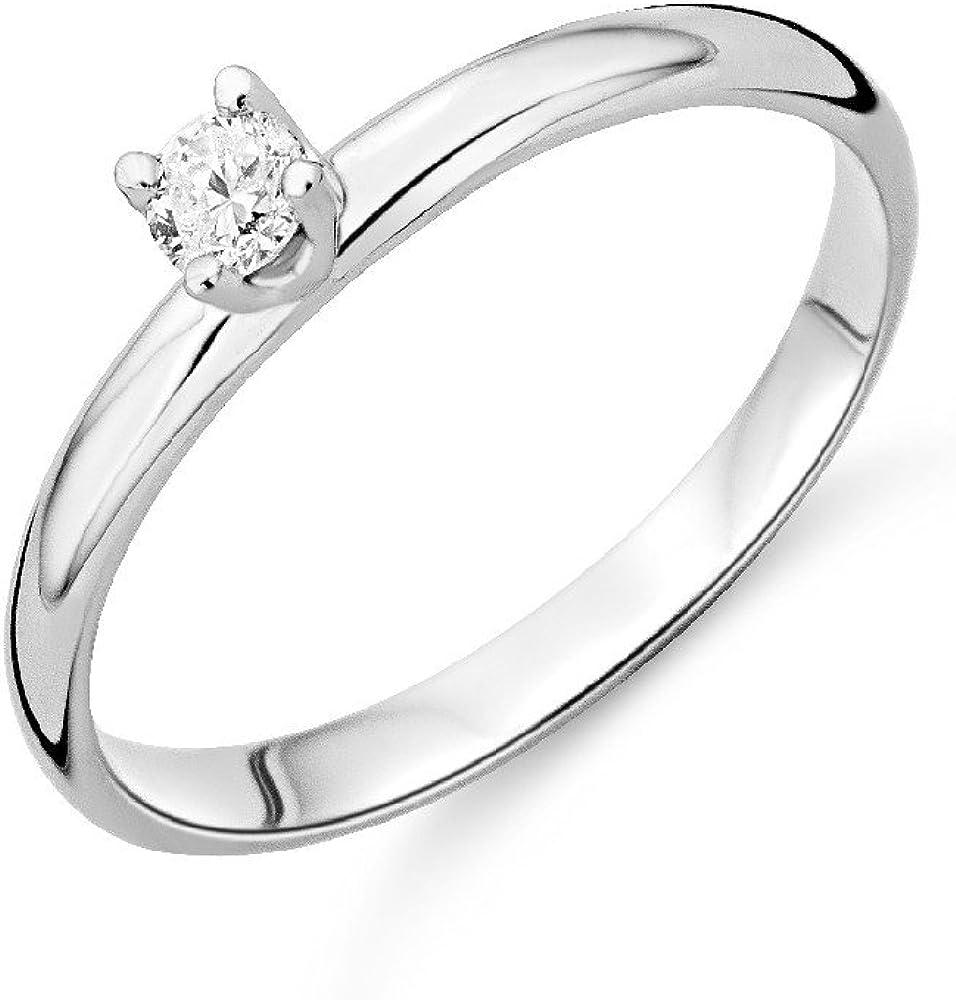 Miore Anillo de Mujer con Oro Blanco 9k, Diamante
